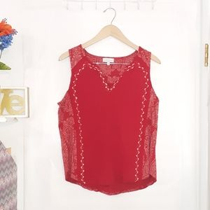 Lucky Brand | Red Paisley Print Tank Top